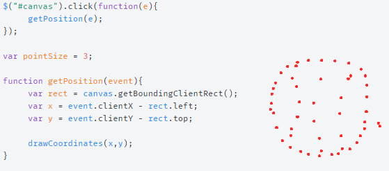 Draw points (circles) on a canvas with javascript html5