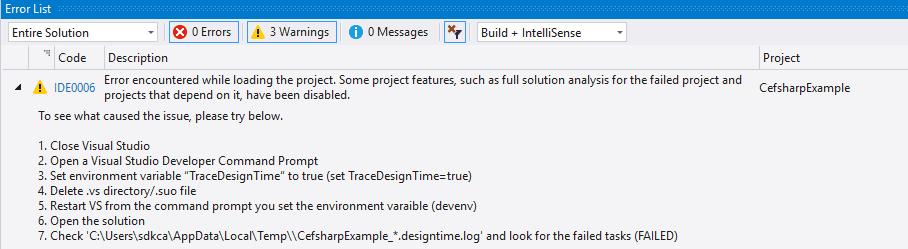 Visual Studio 2017: IDE0006 Compiler Error encountered while