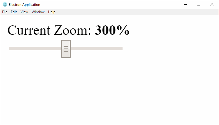 How to change the window zoom level in Electron Framework
