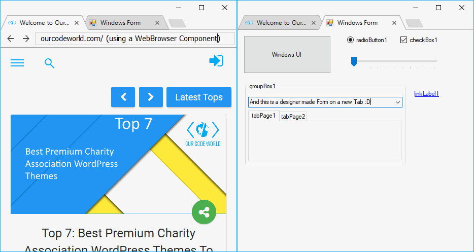 Creating a C# Application with Chrome-Style Tabs using