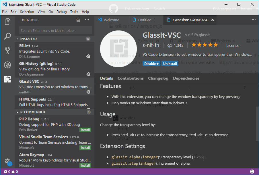 How to make the Visual Studio Code Window Transparent in Windows