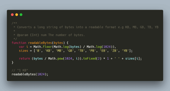 Converting bytes to human readable values (KB, MB, GB, TB, PB, EB, ZB, YB) with JavaScript
