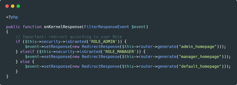 How to redirect an user to a specific page according to his role in Symfony 2.8 using an EventListener