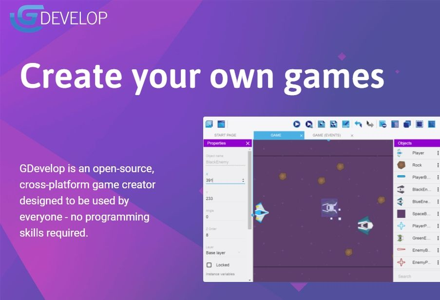 GD: an open source HTML5 and native game creator requiring no coding skills