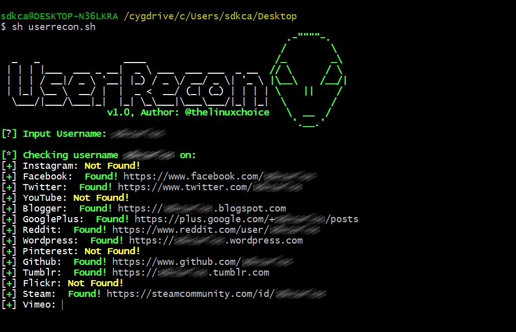 Finding an username across over 75 social networks with UserRecon