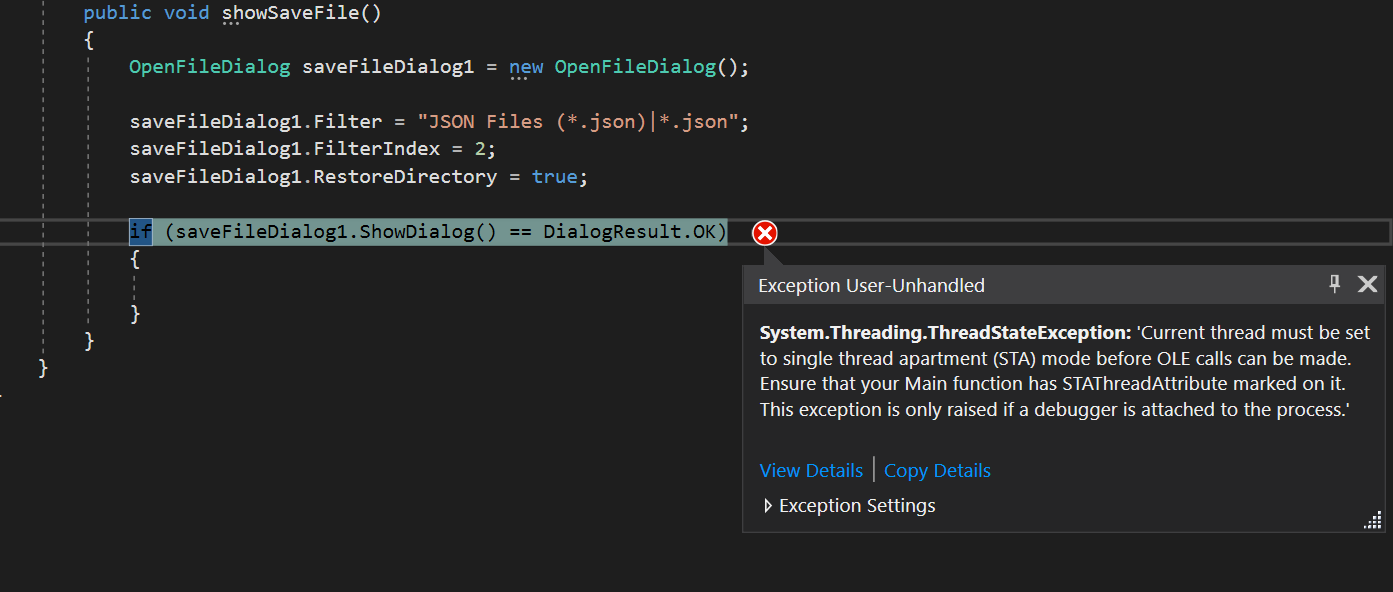 How to solve C# exception: Current thread must be set to single thread apartment (STA) mode before OLE calls can be made, ensure that your Main function has STAThreadAttribute marked on it