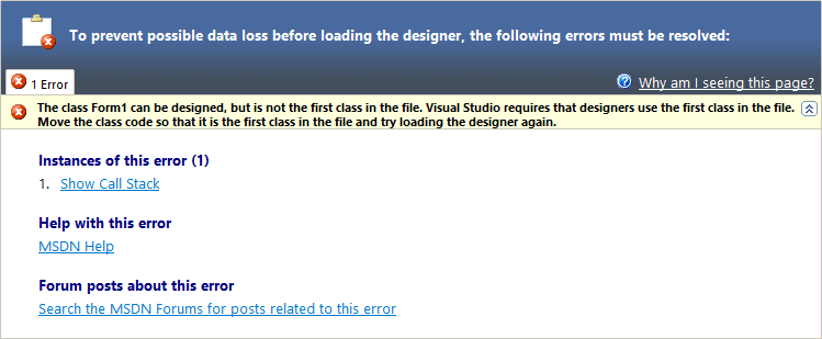 How to solve Visual Studio Form Render exception: The class Form can be designed, but is not the first class in the file