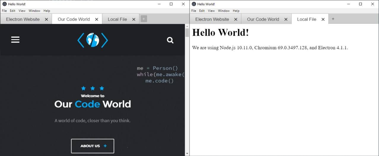 How to implement browser like tabs in Electron Framework
