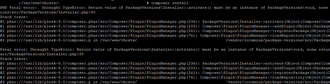 How to solve Composer Install/Update error: Return value of PackageVersions\Installer::activate() must be an instance of PackageVersions\void, none returned