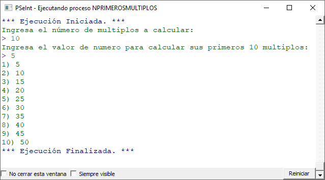How to print the first N multiples of a number in PseInt
