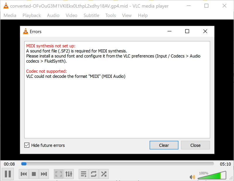 How to play Midi files on the VLC  Media Player 3.0.8