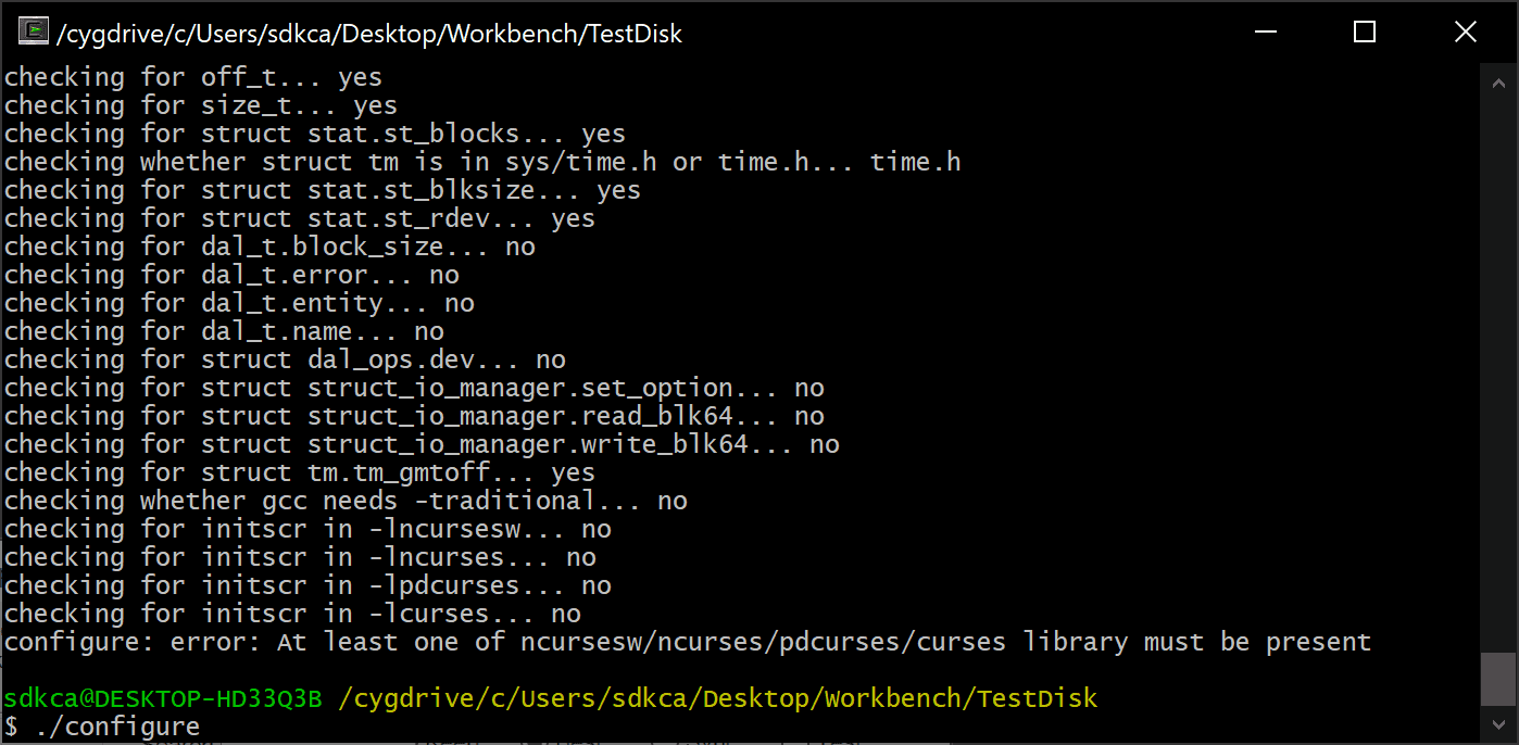 How to solve the configure error: At least one of ncursesw/ncurses/pdcurses/curses library must be present