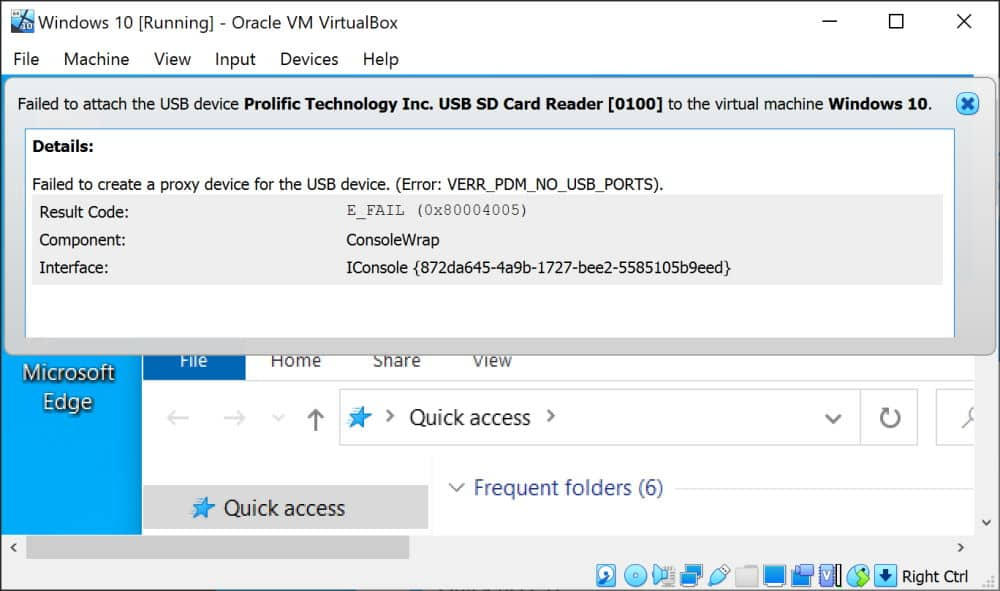 How to solve VirtualBox exception when attaching a USB device: failed to create a proxy device for the usb device. (error verr_pdm_no_usb_ports)
