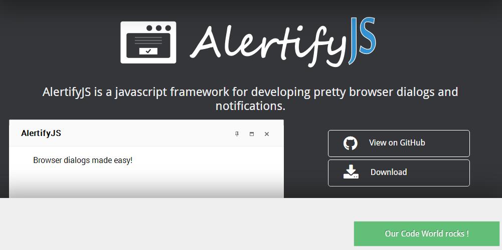 Alertify.js homepage