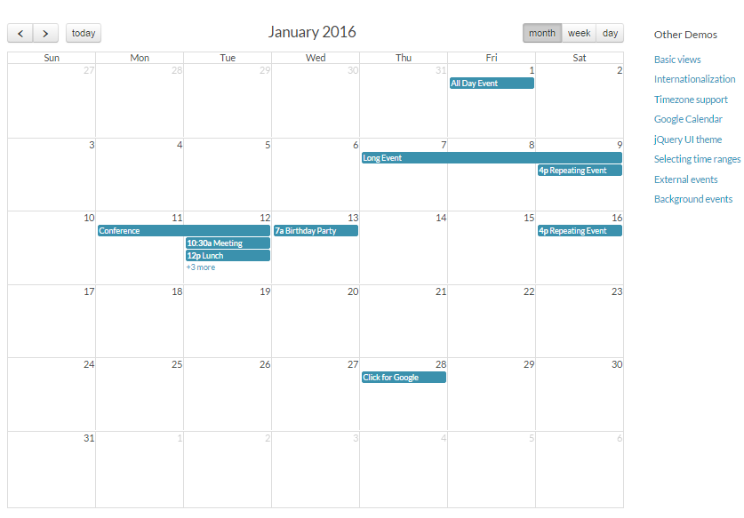 Top 5 : Best jQuery scheduler and events calendar for web