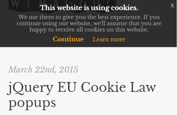 plugin to create eu cookie law popups supports multiple layouts out of the box works well with bootstrap 3 and is easy to customize markup and css