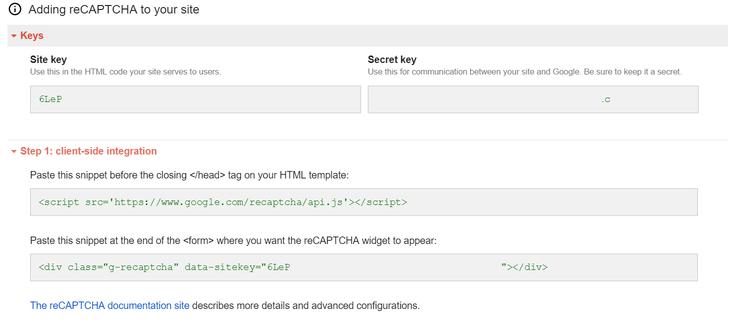 Keys recaptcha example