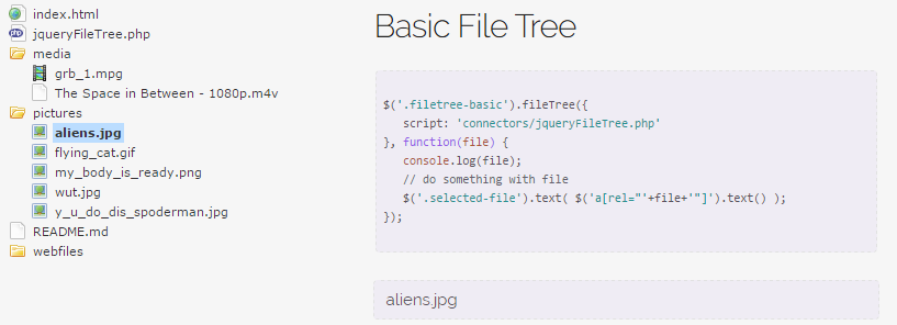 jQuery file tree demo