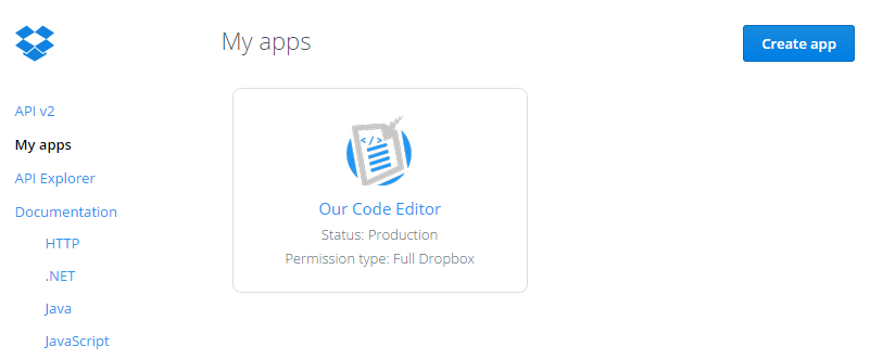 Dropbox create app menu