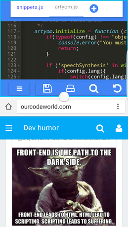 Split screen view