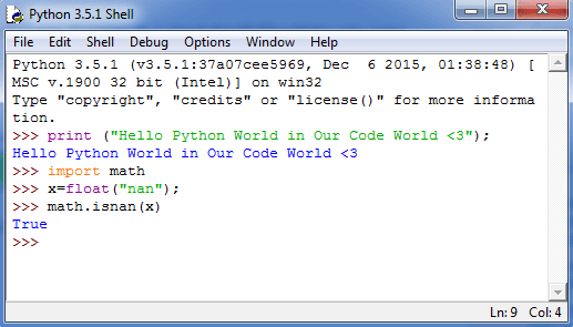 IDLE Python hello world