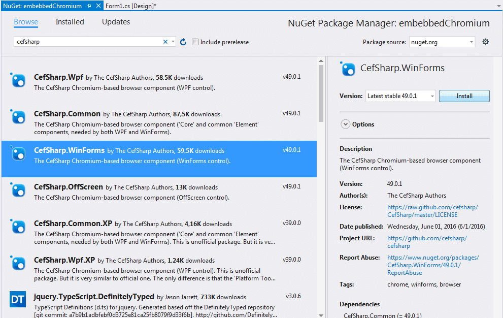 CefSharp NuGet package