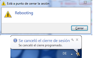 Rebooting dialogs windows