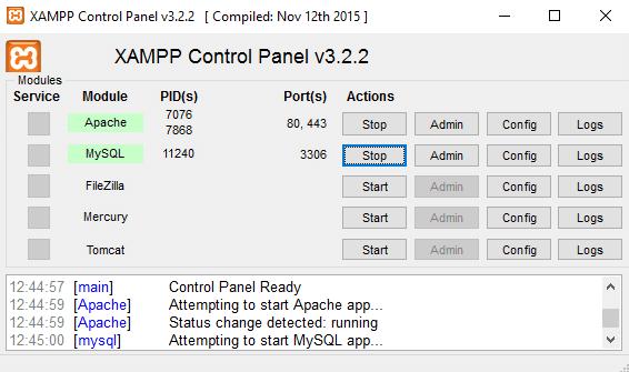 Xampp menu