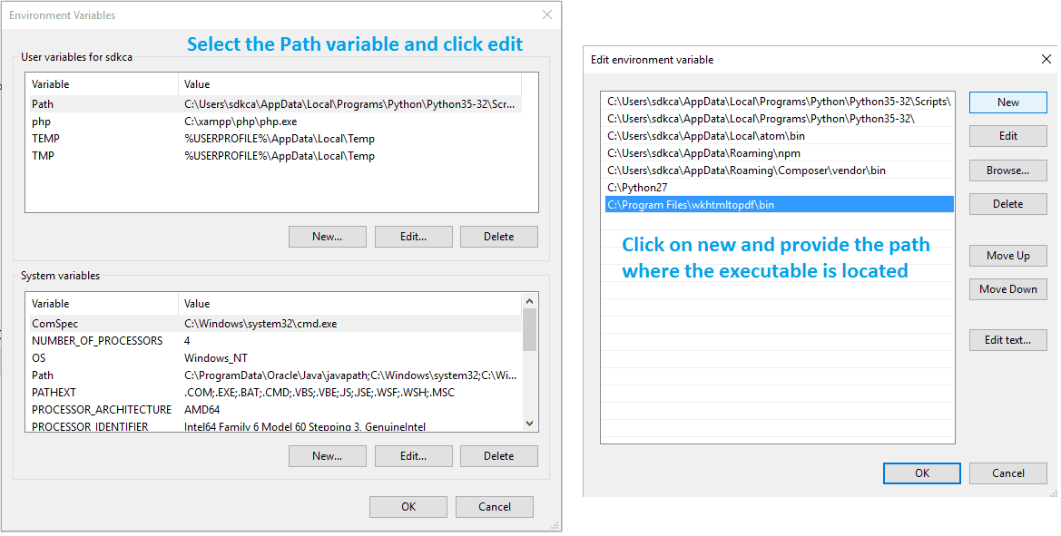 Edit the path variable and add the new path