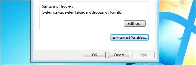 Environment variables button