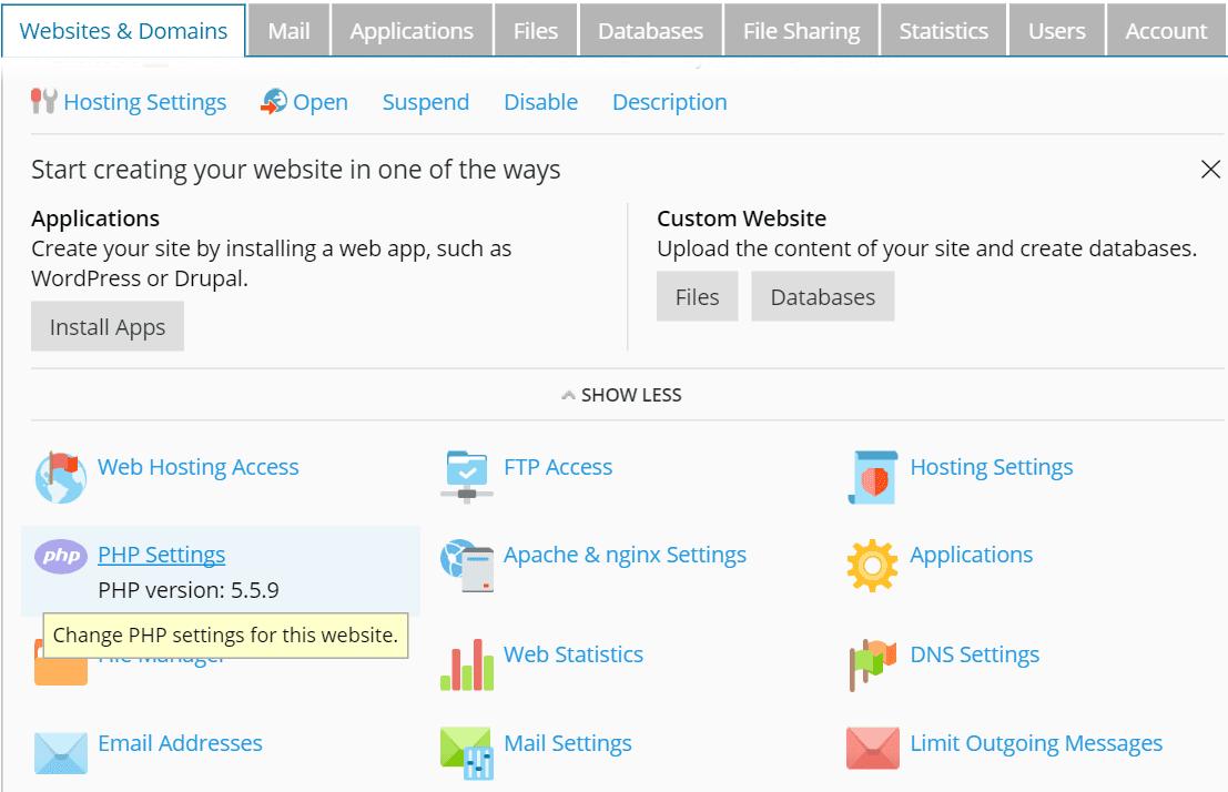 PHP Settings Plesk