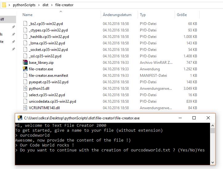 Python console executable