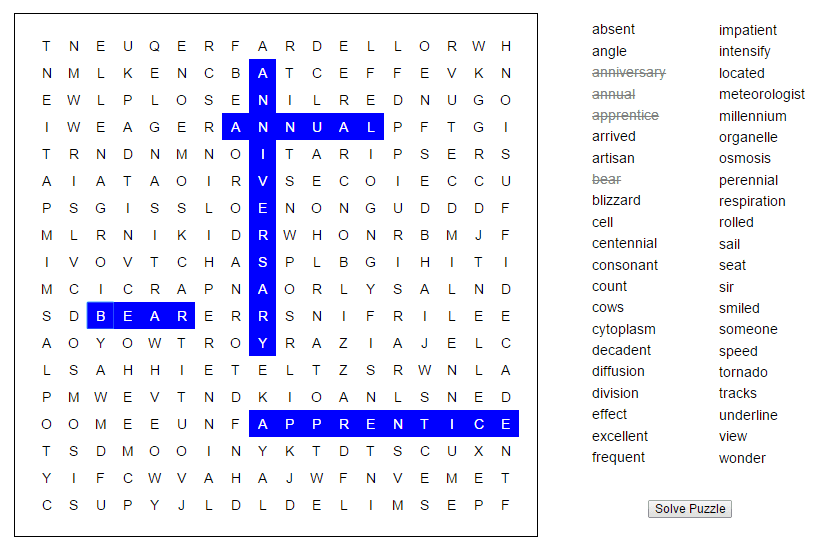Wordfind (soup of letters) in Javascript