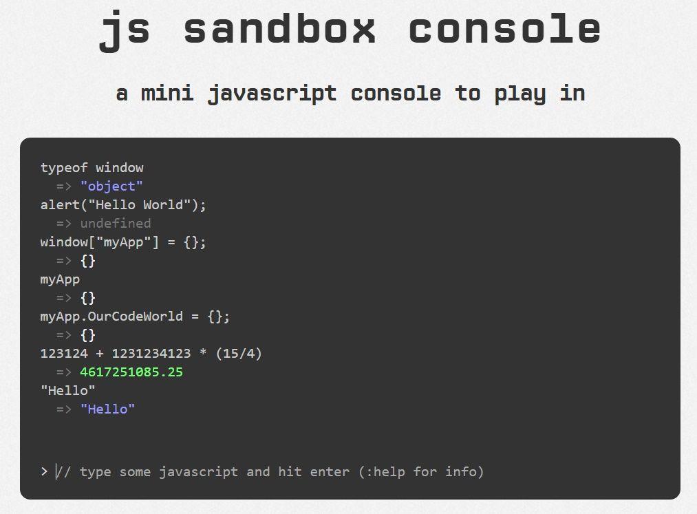 Javascript Sandbox Console Plugin