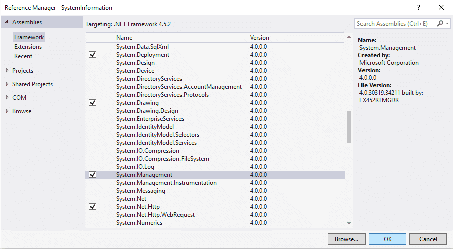 Add System.Management reference visual studio manually