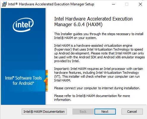 Intel HAXM Installer setup