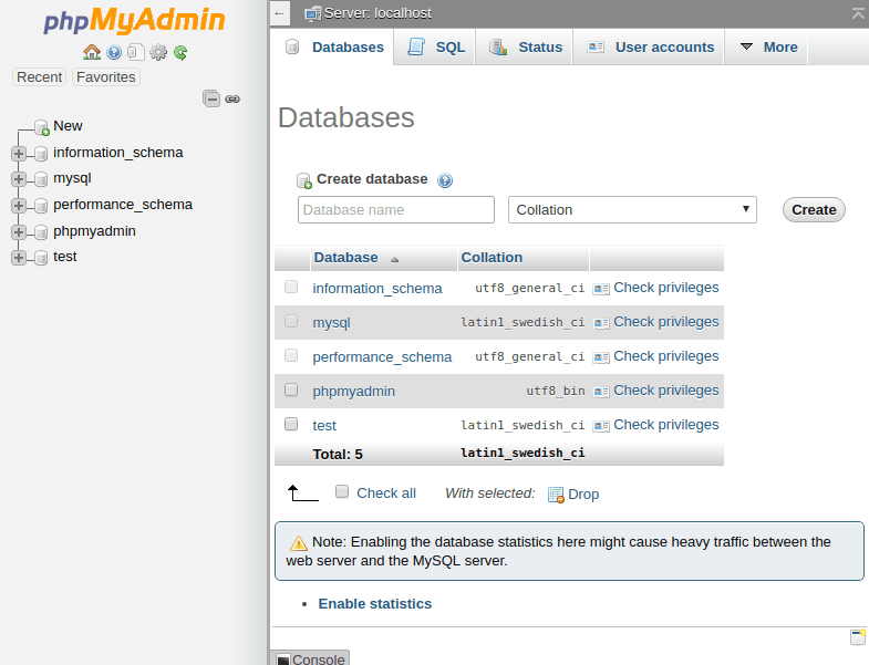 PHPMyAdmin Ubuntu xampp