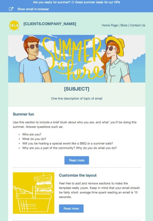 Free html template email