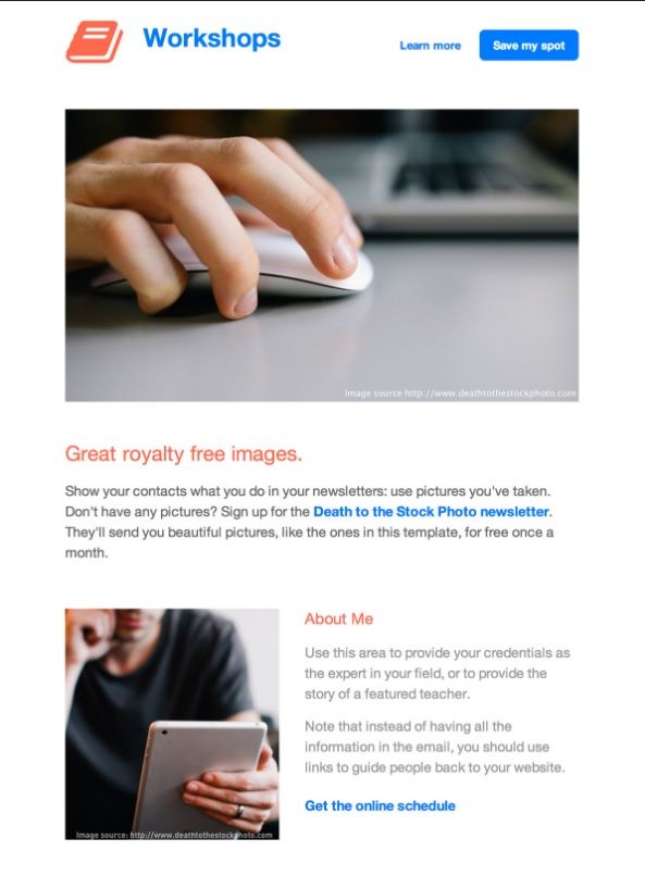 Workshops html email template