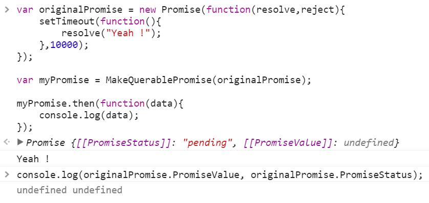 Javascript Promise status