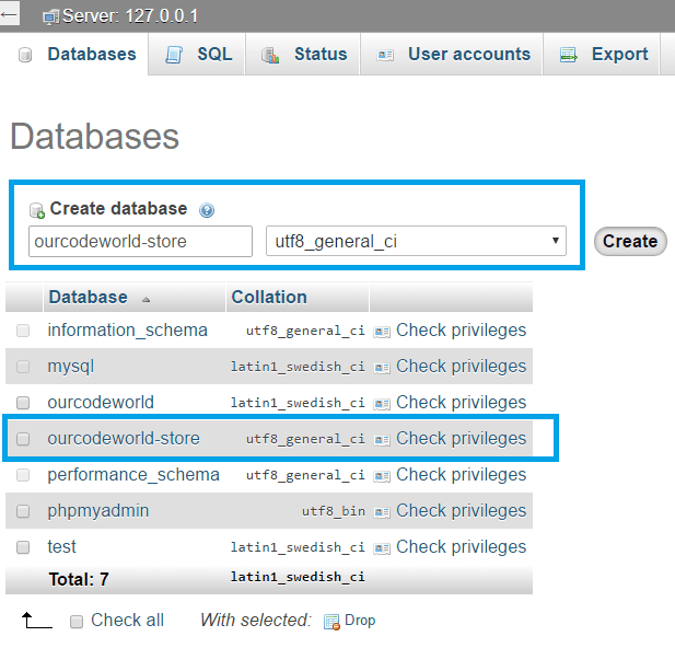 PHPMyAdmin Prestashop create empty database