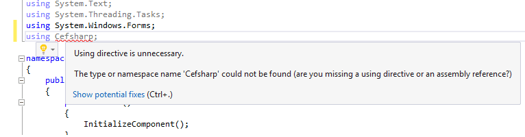 CefSharp namespace could not be found