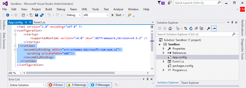 CefSharp AnyCPU app.config file