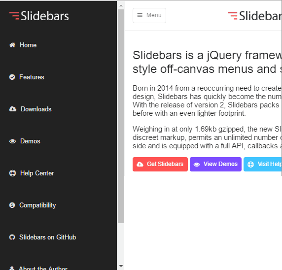Top 10: Best slide sidebar menu (drawer) javascript and jQuery