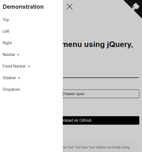 Top 10: Best slide sidebar menu (drawer) javascript and jQuery