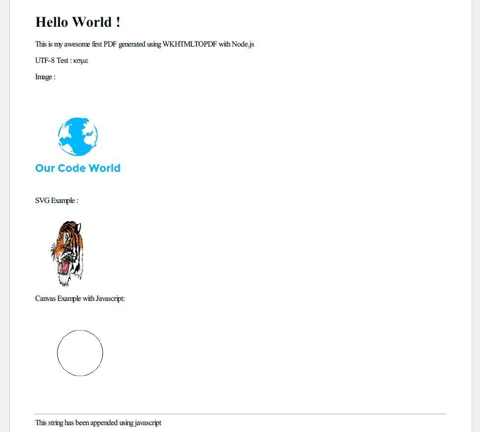 Node.js wkhtmltopdf pdf example
