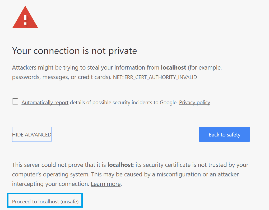 Chrome Untrusted Certificate example