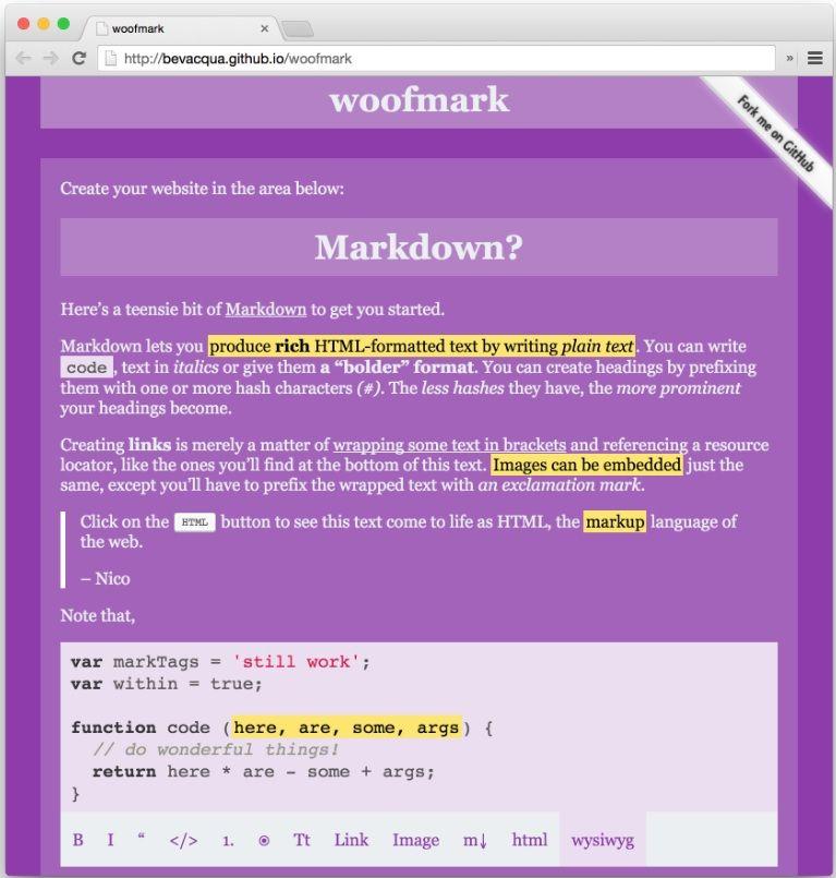 Markdown Woofmark Bevaqua