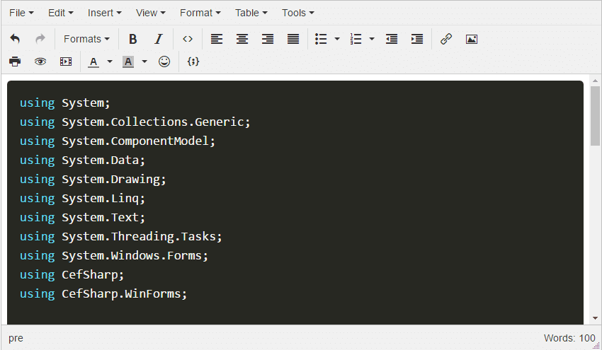 Custom CSS Prism.js TinyMCE code sample