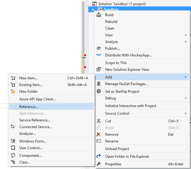 Add reference to DLL in your WinForms project